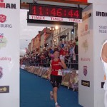 Jo Reed, mum of premature twins, completing an Ironman triathlon in aid of Tiny Lives.