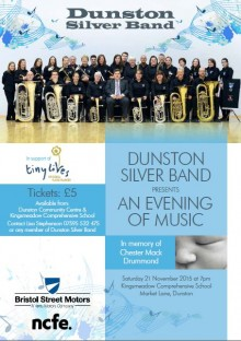 Dunston Silver Band Poster 21 Nov 2015 - in memory of Chester Drummond.