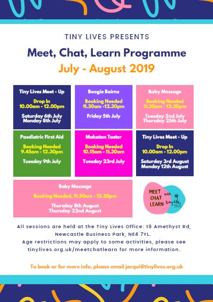 Meet, Chat and Learn programme July - Aug 2019