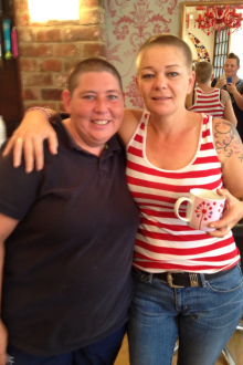 Donna and Kath after sponosred head shave