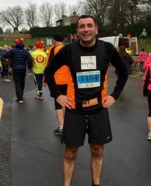 Andy after the Brass Monkey half marathon, Jan