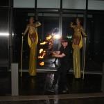 Stilt walkers and fire eater - outside