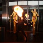Stilt walkers and fire eater - outside 3