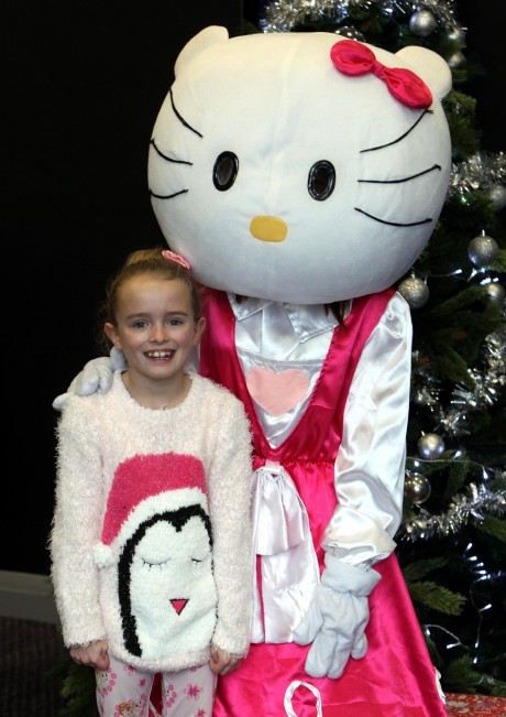 The 'Tiny Lives' Christmas reunion at St. James' Park...Grace Oliver 7 with 'Hello Kitty'.......(pic Dave Charlton)