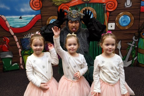 The 'Tiny Lives' Christmas reunion at St. James' Park...Triplets (L to R) Emilia, Eva and Emma 4 with 'King Rat'.......(pic Dave Charlton)
