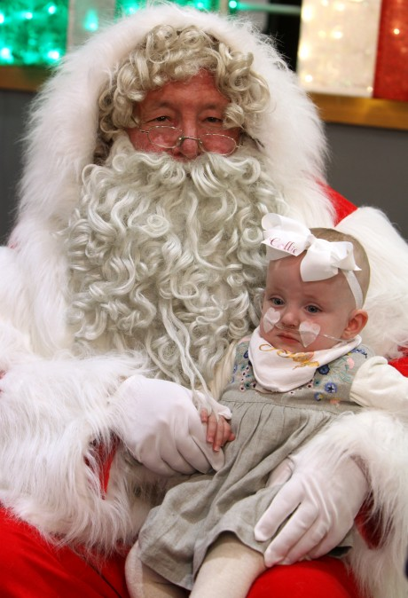 The 'Tiny Lives' Christmas reunion at St. James' Park..Little Callie Hunter 1 with Santa........(pic Dave Charlton)