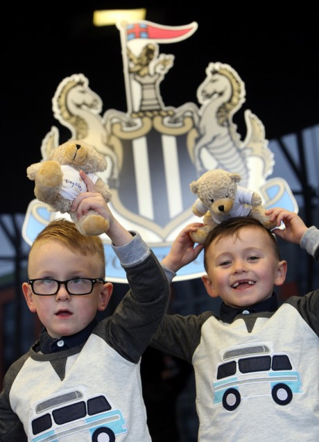 The 'Tiny Lives' Christmas reunion at St. James' Park...Logan Gregory 5 (left) with his brother Tyler 5 .......(pic Dave Charlton)