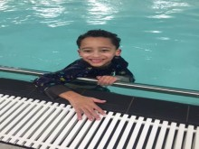 Harrison in the pool