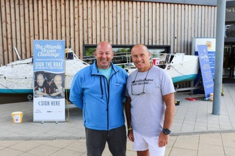 Paul and Phil (Atlantic Dream Challenge) more fundraising with boat (Lakeside Centre, 2019)