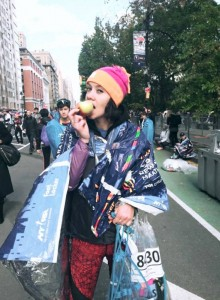 Mairi after finishing the NYC Marathon